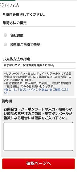 カイトリワールド「送付・支払い方法の選択」画面